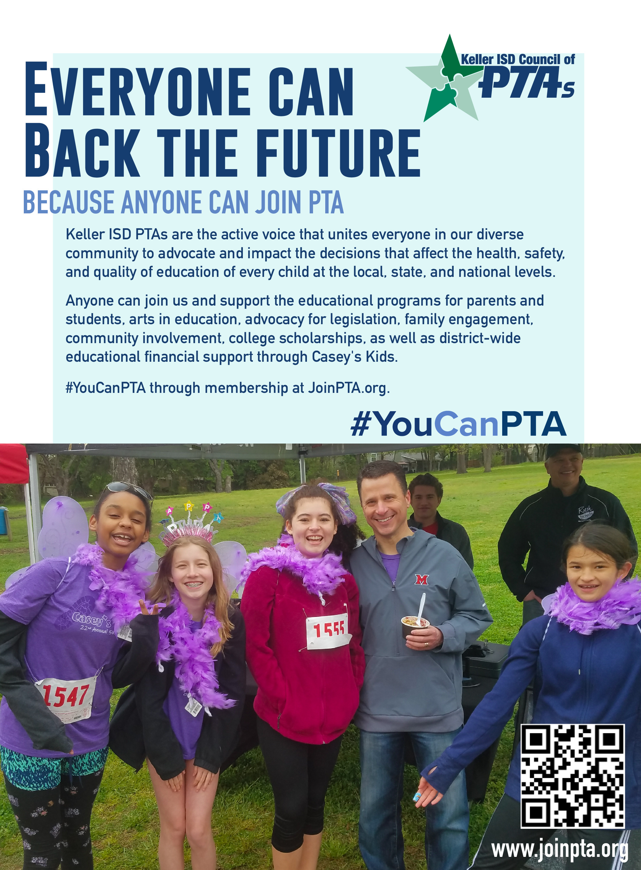 Join PTA promo ad with image of students standing with Dr. Westfall at a Casey's Kids Fun Run. Click here for readable PDF.