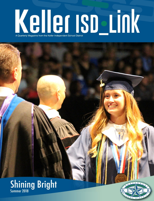 Cover of KellerISD_Link Magazine featuring a Keller High School graduate walking across the stage at graduation