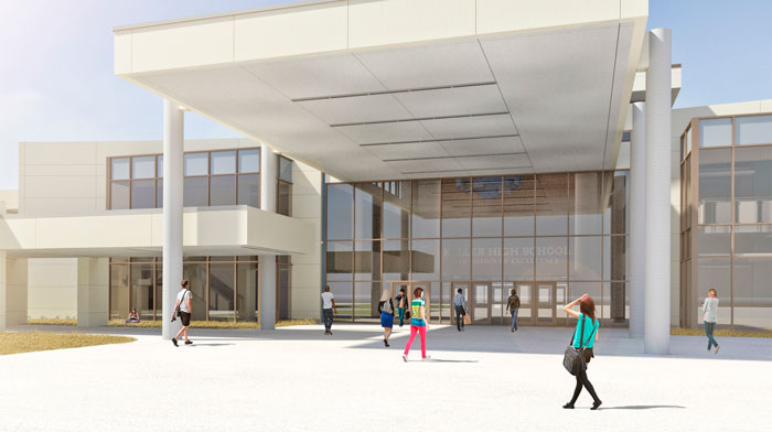 Rendering showing close up of new KHS facade awning
