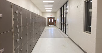 New fine arts wing hallway leading to band facilities