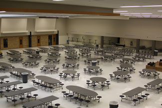 View of the renovated KHS Cafeteria from the new second floor hallway overlook