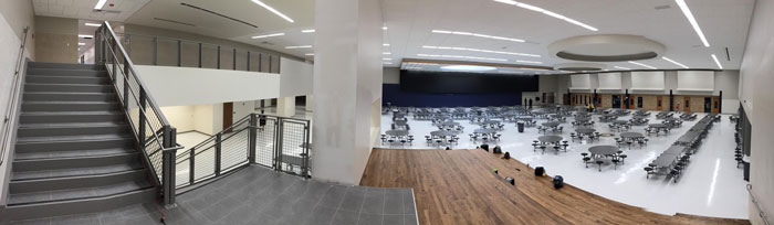 Panorama of new cafeteria from new staircase