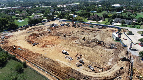 Aerial image of northeast corner of FES construction site