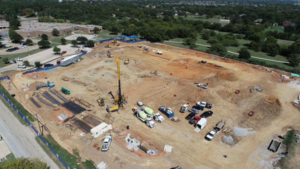 Aerial image of the southwest corner of the FES construction site