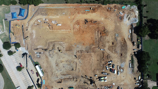 Overhead aerial of the FES construction site