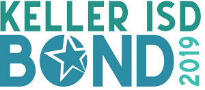 "Logo: ""Keller ISD Bond 2019"" with ""Keller ISD"" in all caps above ""Bond"" in all caps with a star in the ""O"" and vertical 2019"