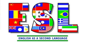 "ESL Logo: ""ESL (colored with international flags): English as a Second Language"""