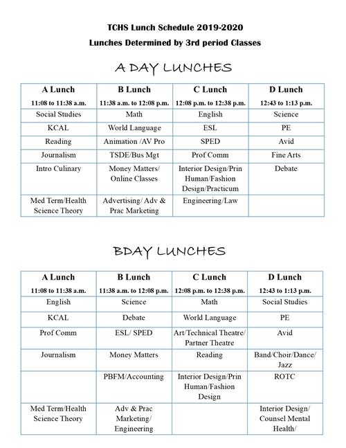 Timber Creek Lunch Schedules