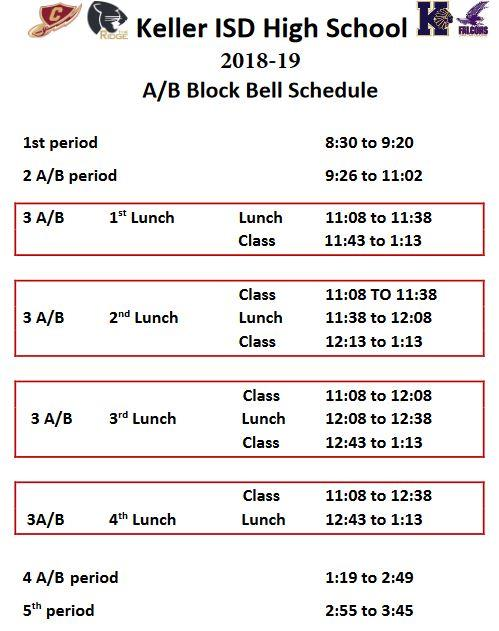 calendar schedules bell schedules