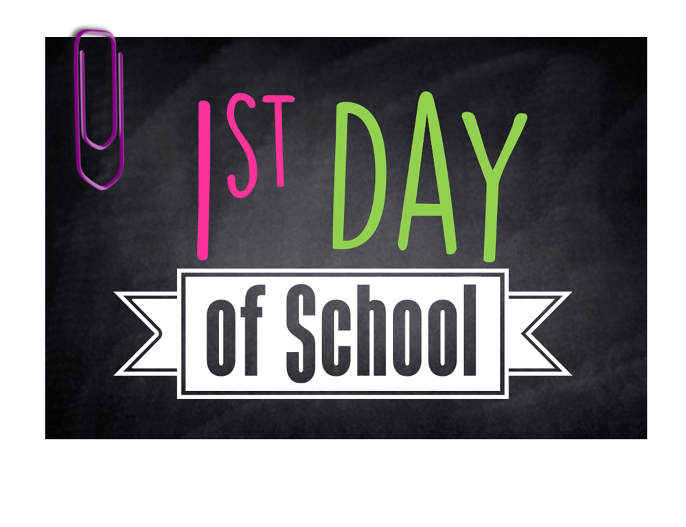 first day of school, chalkboard, paperclip