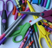 scissors, crayons, pens