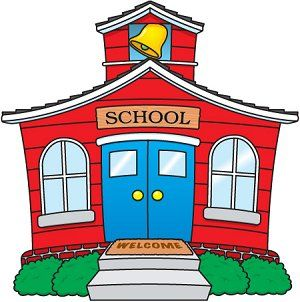 Red schoolhouse with blue doors