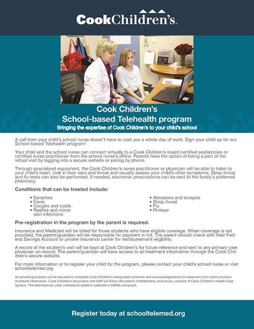Cooks Children's School Based Telehealth program