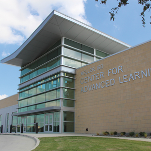 Front facade of Keller ISD Center for Advanced Learning