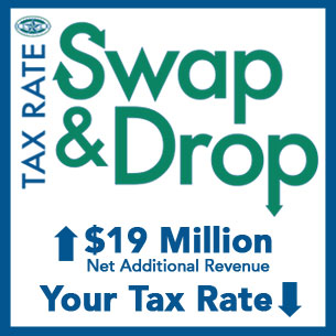 KISD Tax Rate Swap & Drop logo – $19 million in additional net revenue, your tax rate down