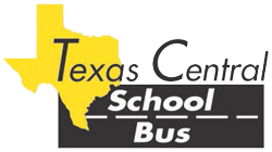 "Texas Central School Bus Logo – ""Texas Central"" in black on top of yellow state outline. ""School Bus"" in white on black road"