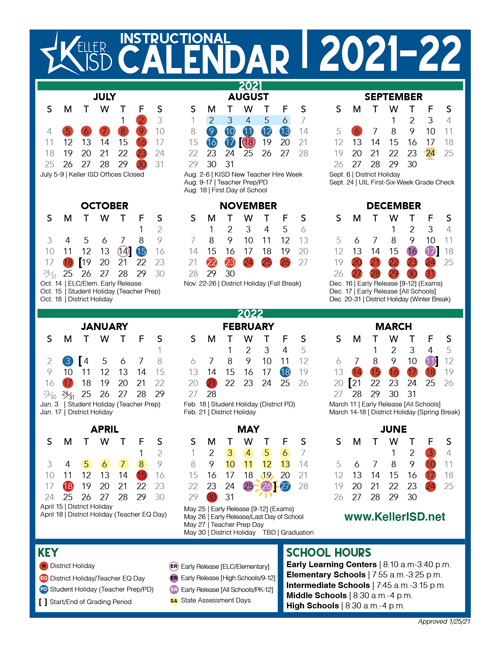 Keller Isd Calendar 2022 2023.Board Approves 2021 22 Instructional Calendar