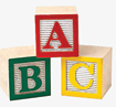 A-B-C Blocks stacked with the B and C on the bottom, and the A across the top of them.